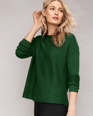 EILEEN FISHER Ribbed Merino Bateau-Neck Sweater