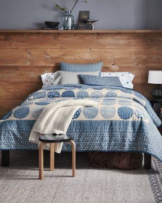 Garnet Hill Blue Moon Vintage-Look Botanical Cotton Quilt