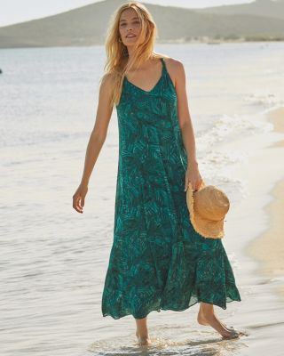 Crinkled Cotton Gauze Long Cover-Up Dress by Garnet Hill