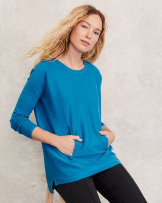 Pocket-Detail Organic Cotton Tunic Sweater