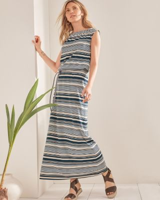Santorini Garment-Washed Jersey Knit Maxi Dress