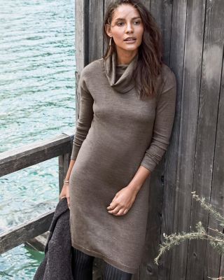Eco Merino Cowl-Neck Sweater Dress