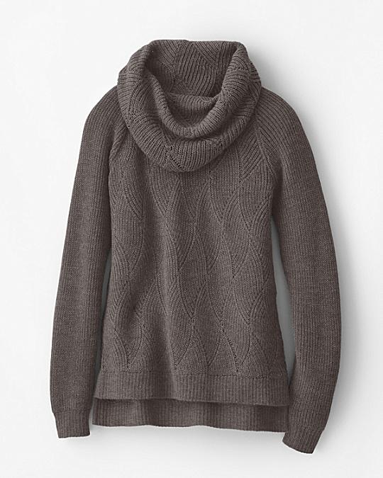 Alpaca Pointelle Cowl-Neck Sweater | Garnet Hill