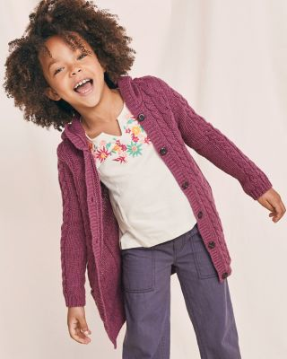Girls' Hooded Long Cardigan Sweater