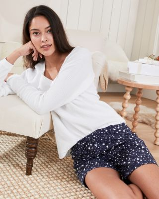 Organic Cotton Flannel Boxer Sleep Shorts for Women