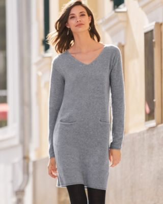Easy V-Neck Jersey Knit Cashmere Dress