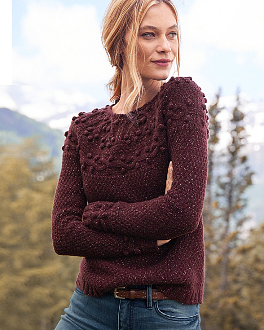 Shimmering Cabled Cashmere Sweater | Garnet Hill