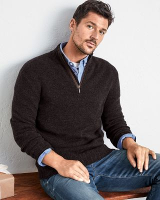 Men's Washable-Cashmere Zip-Neck Sweater
