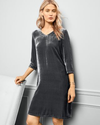 EILEEN FISHER Three-Quarter-Sleeve V-Neck Velvet Dress