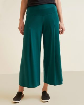 Pleated Wide Leg Terry Cropped Pants by Garnet Hill
