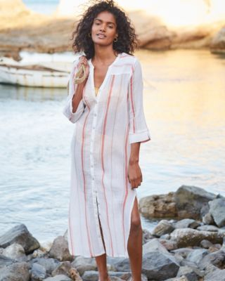 Organic-Cotton Side-Slit Shirtdress