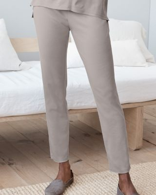 EILEEN FISHER Organic Cotton Seam-Detail Ankle Pajama Pants