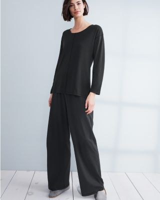 Eileen Fisher Seam-Detail Wide-Leg Pajama Pants