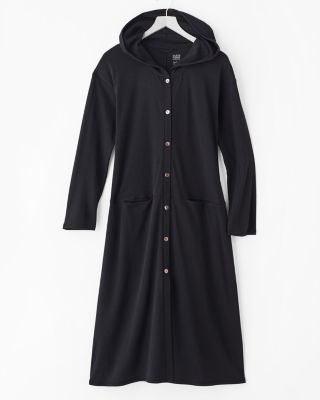 EILEEN FISHER Seam-Detail Button-Front Hooded Robe