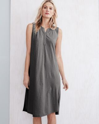 EILEEN FISHER Organic-Cotton Crossover-Placket Knit Sleep Gown