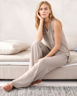 EILEEN FISHER Organic-Cotton Crossover-Placket Sleeveless Pajamas