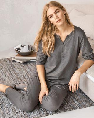 EILEEN FISHER Organic-Cotton Crossover-Placket Pajamas