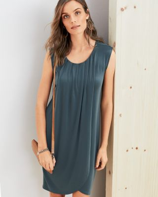 Pleated TENCEL Knit Wrap Dress
