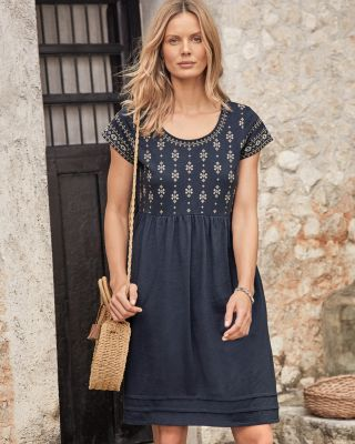 Organic Cotton Embroidered Knit Dress
