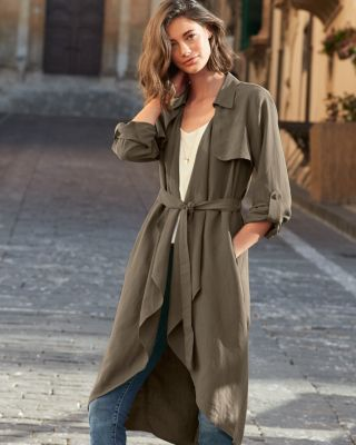Lightweight Silk-Linen Draped-Front Long Topper Jacket