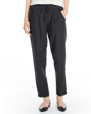 Easy Cropped Silk-Linen Pull-On Pants