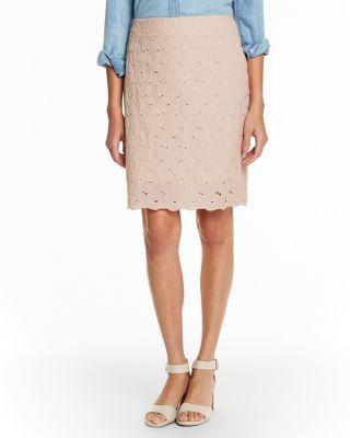 Organic-Cotton Cutwork-Embroidery Pencil Skirt