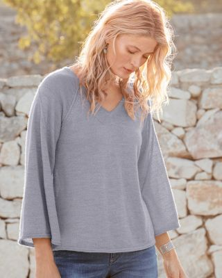 Alpaca Bell-Sleeve V-Neck Sweater