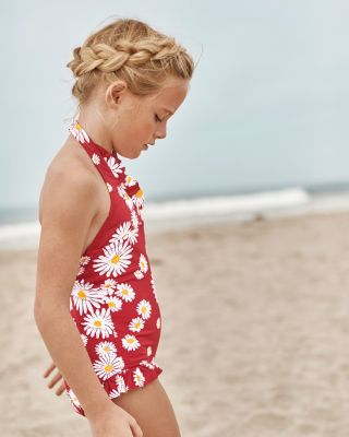 Girls' Ruffle-Trimmed Halter One-Piece Swimsuit UPF 50+