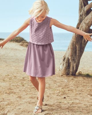 Girls' Eyelet-Overlay Cotton Knit Dress