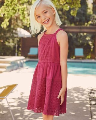 Girls' Everly Eyelet Gauze Dress by Garnet Hill Kids