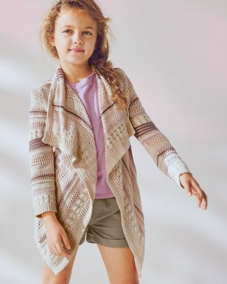 Girls' Folkloric Open Cardigan Sweater