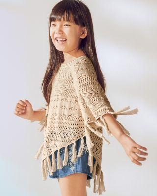 Organic-Cotton Pointelle Poncho - Girls