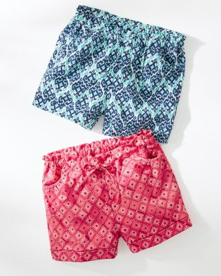 Girls' Organic-Cotton Knit Paper-Bag Shorts