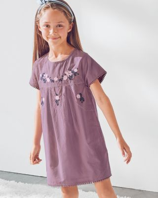 Jolie Embroidered Cotton Dress - Girls