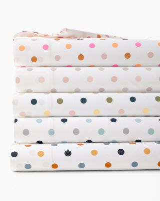 Polka Dot Cotton Percale Sheets
