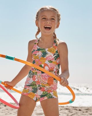 Girls' Wave Rider Scrunch-Back Swimsuit Tankini Top UPF 50+