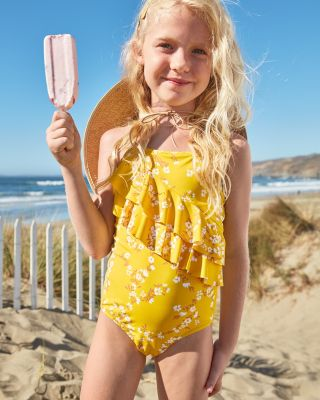 Girls' Cascading-Ruffle One-Piece Swimsuit UPF 50+