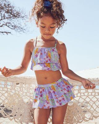 Girls' Flounce-Ruffle Swimsuit Bikini Top UPF 50+