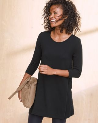 A-Line Seamed French Terry Tunic Top