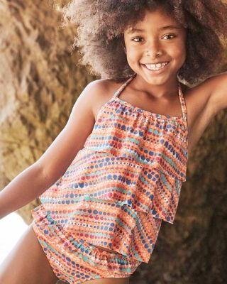 Girls' Tiered-Ruffle Tankini Top UPF 50+
