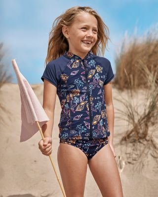Girls' Wave Rider Short-Sleeve Rashguard UPF 50+