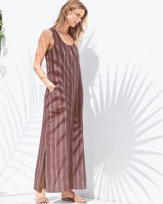 Linen Tank Maxi Dress With Pockets