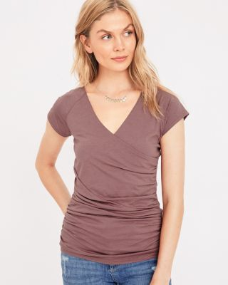 Organic Cotton Ruched Surplice Tee Shirt by Garnet Hill