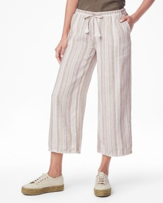 Linen Lace-Trimmed Cropped Pants By Garnet Hill