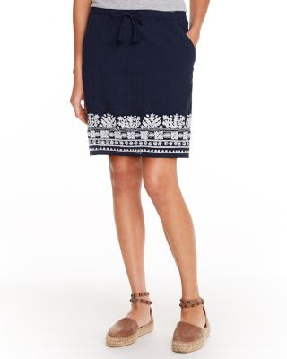 Organic-Cotton Embroidered Pull-On Skirt