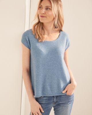 Cashmere Short-Sleeve Cropped Boxy Sweater