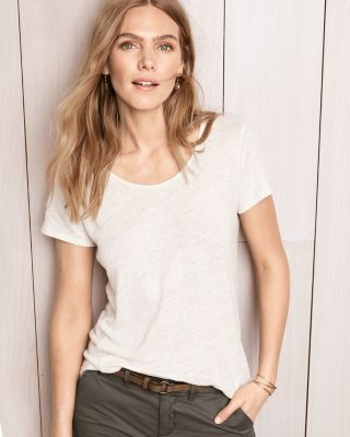 Organic-Linen Shaped-Hem Tee By Garnet Hill