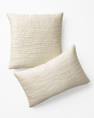 EILEEN FISHER Waves Washed-Silk Pillow Covers