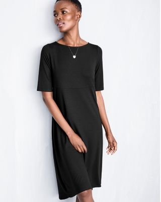 Eileen Fisher Viscose Jersey Elbow-Length-Sleeve Dress