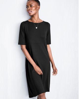 Eileen Fisher Viscose-Jersey Elbow-Length-Sleeve Dress Petite